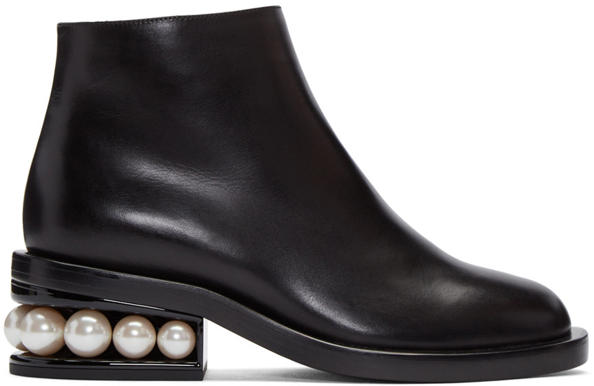 NICHOLAS KIRKWOOD 'Casati' Faux Pearl Heel Leather Ankle Boots at SSENSE