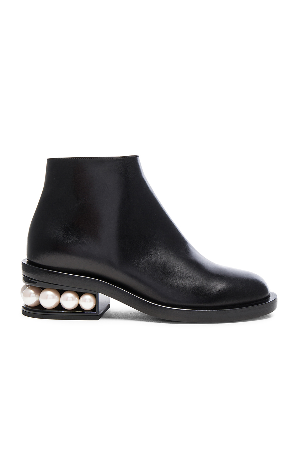 NICHOLAS KIRKWOOD 'Casati' Faux Pearl Heel Leather Ankle Boots at FORWARD