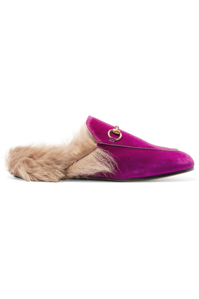 GUCCI Horsebit-Detailed Shearling-Lined Velvet Slippers at NET-A-PORTER