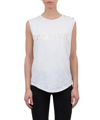 BALMAIN Logo Cotton Jersey Sleeveless Top, White at L'INDE LE PALAIS