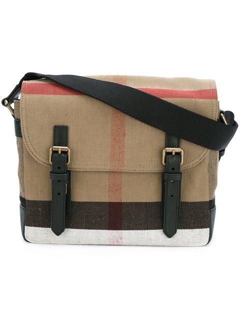 BURBERRY Check Cotton Canvas Messenger Bag, Camel in Black