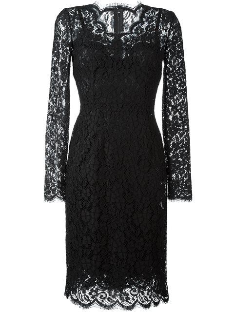 DOLCE & GABBANA Floral-Lace Long-Sleeve Dress, Black at Farfetch