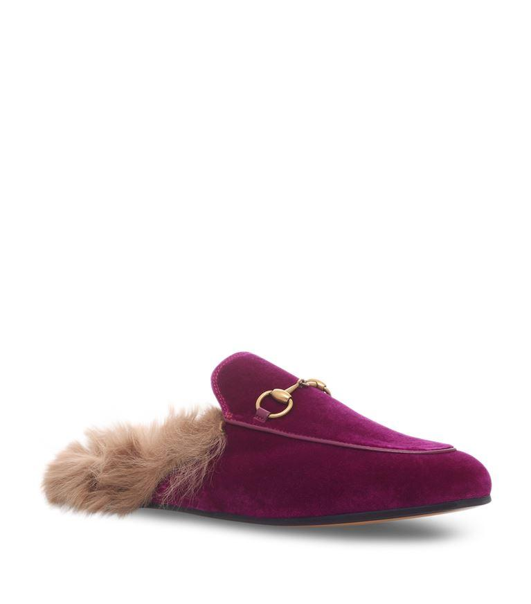 GUCCI Horsebit-Detailed Shearling-Lined Velvet Slippers at Harrods