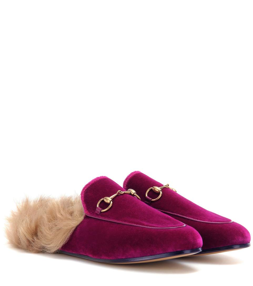 GUCCI Horsebit-Detailed Shearling-Lined Velvet Slippers at mytheresa.com
