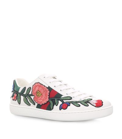 GUCCI New Ace Floral-Embroidered Low-Top Sneaker, White/Multi, Multi Colors at Harrods