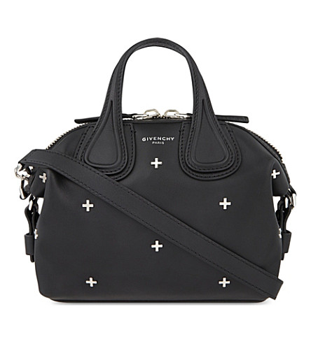 GIVENCHY Nightingale Micro Black Leather Satchel Bag W/Metal Cross at Selfridges