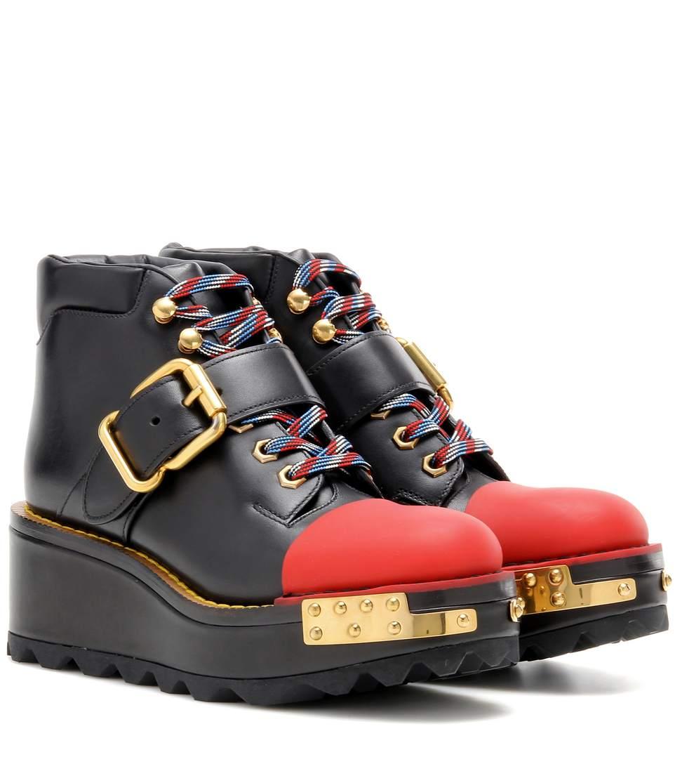 PRADA Buckle Leather 60Mm Hiking Boot, Black/Scarlet (Nero/Scarlatto), Nero+Scarlatto at mytheresa.com