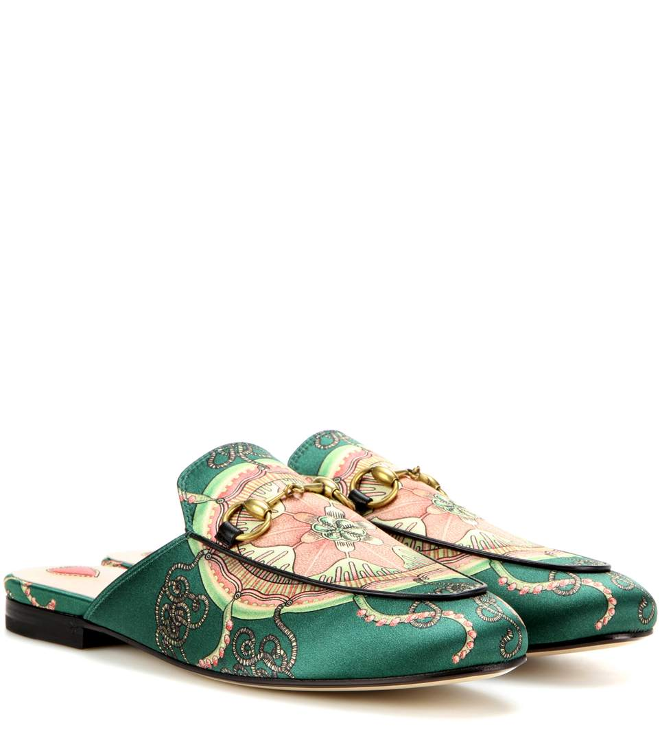 GUCCI Princetown Horsebit-Detailed Printed Satin Slippers in Gucci Lright Greee