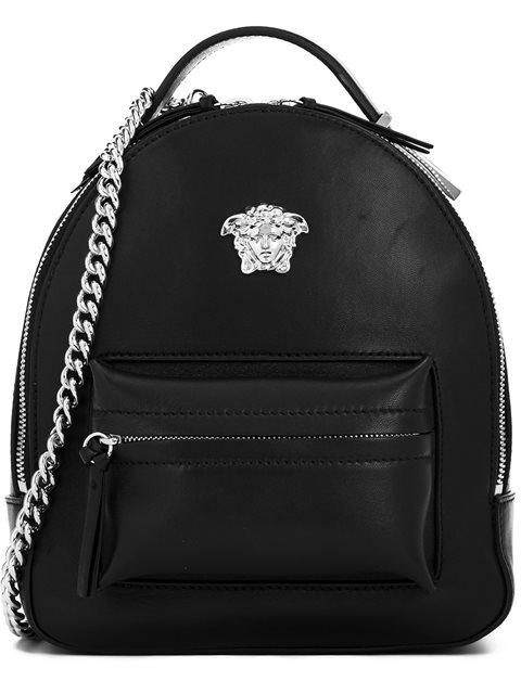 VERSACE Palazzo Black Leather Medusa Backpack