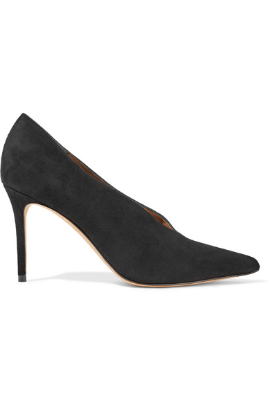 VINCE Portia Suede Pointed-Toe Pump, Black at NET-A-PORTER