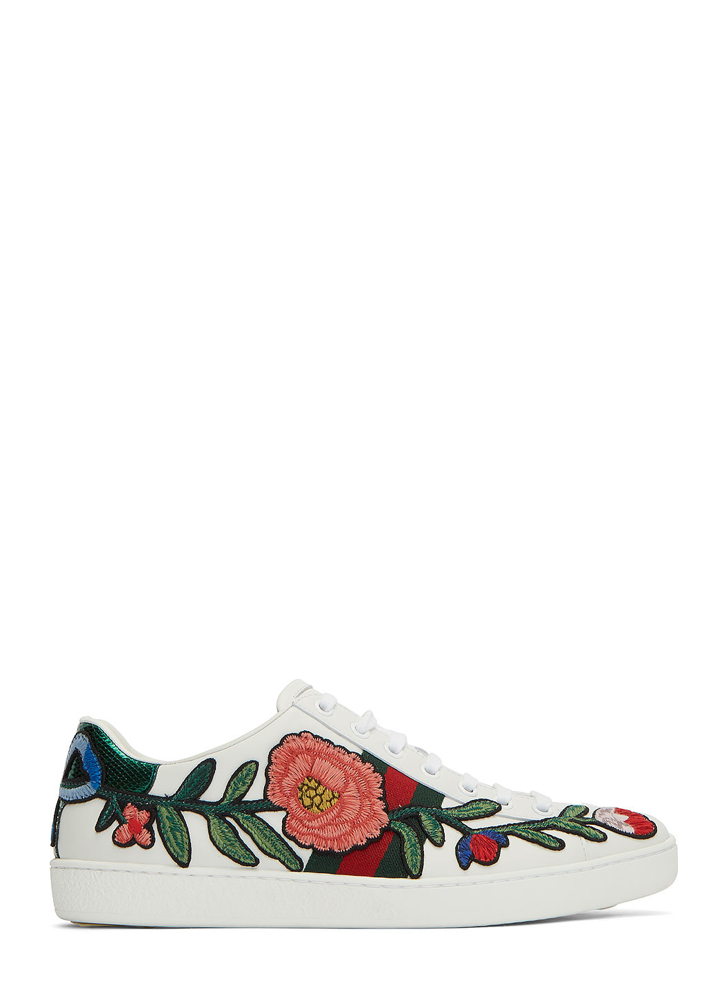 GUCCI New Ace Floral-Embroidered Low-Top Sneaker, White/Multi, Multi Colors at LN-CC