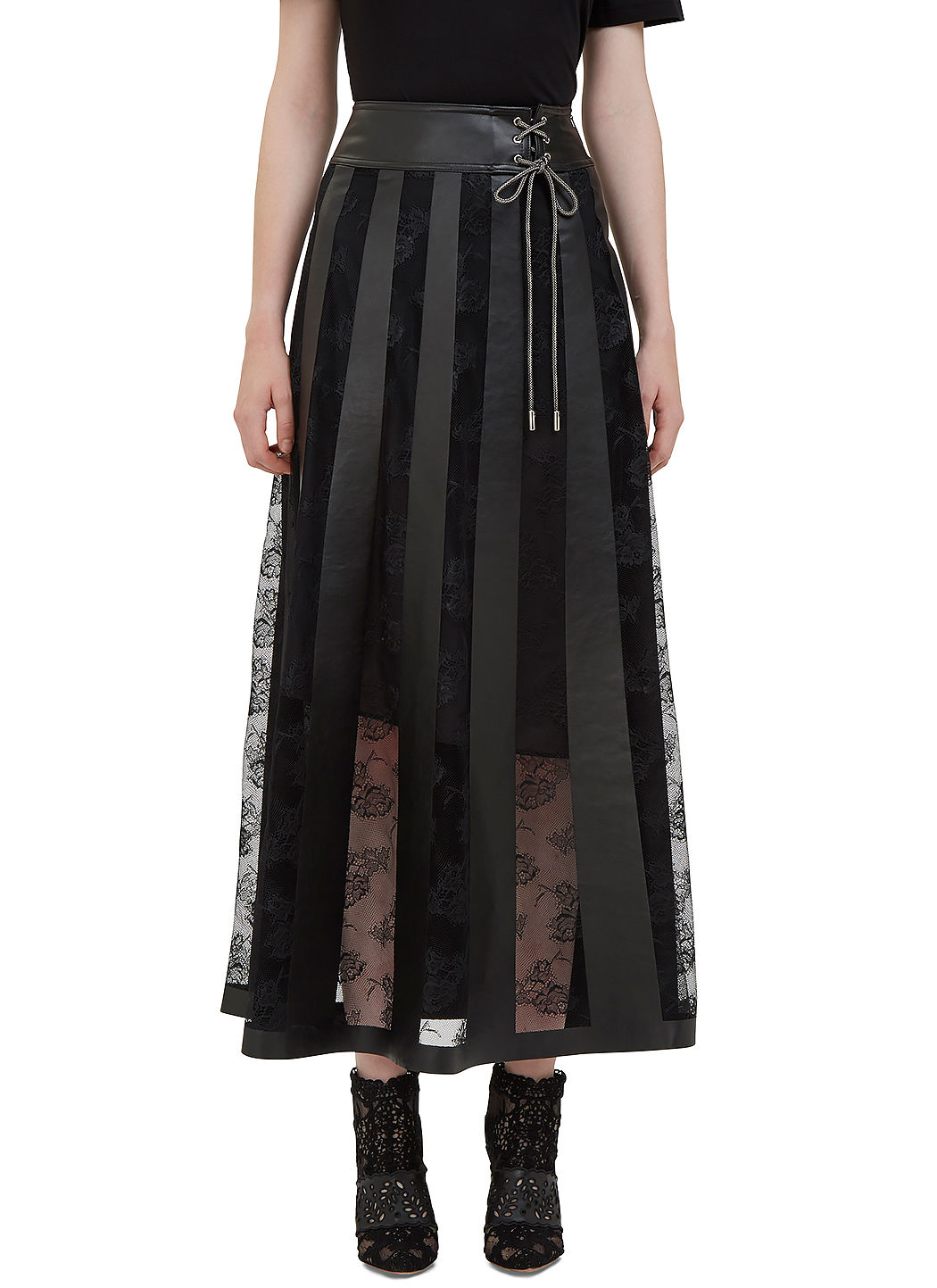 CHRISTOPHER KANE Women'S Long Leather And Lace Panelled Skirt In ...