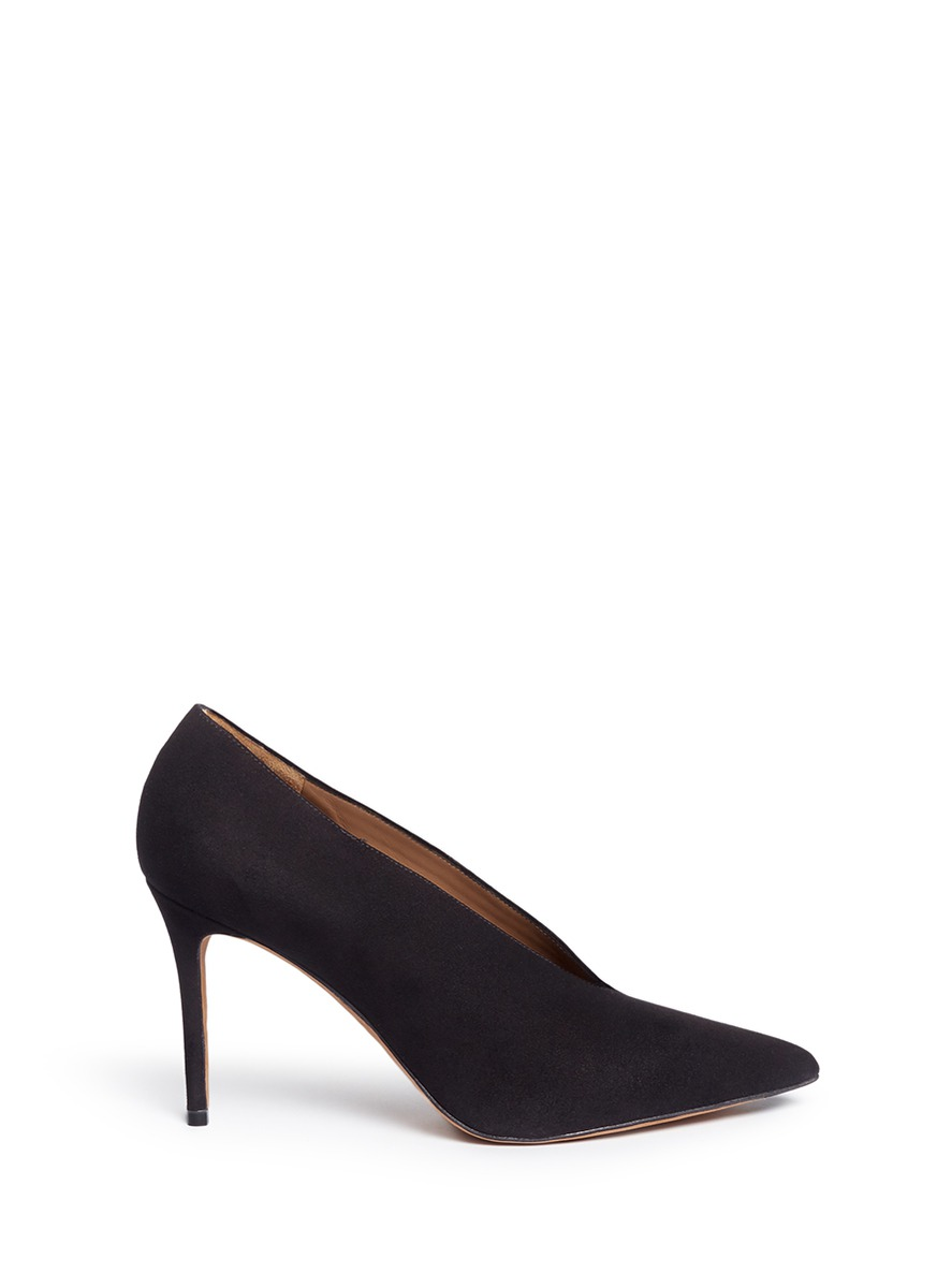 VINCE Portia Suede Pointed-Toe Pump, Black at Lane Crawford