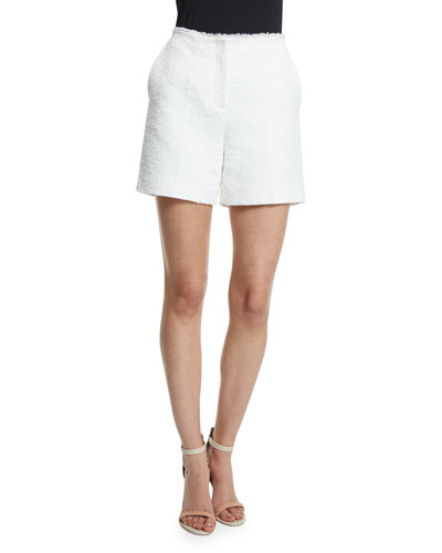 THEORY Mirak Spring Tweed Shorts, White at Neiman Marcus
