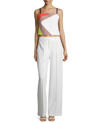 MILLY Cropped Cady Colorblock Tank, Multi Colors at Neiman Marcus