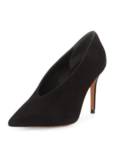 VINCE Portia Suede Pointed-Toe Pump, Black at Neiman Marcus