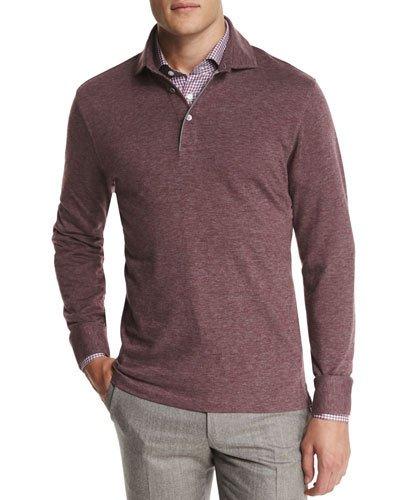 ERMENEGILDO ZEGNA Cashmere-Blend Long-Sleeve Polo Shirt, Red in Cranberry
