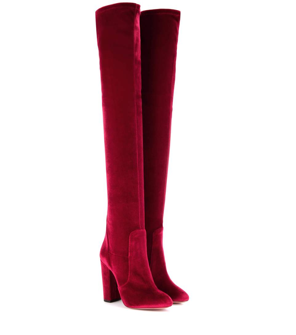 AQUAZZURA Velvet Over-The-Knee Boots