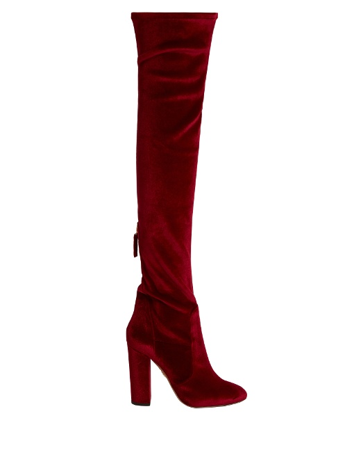 AQUAZZURA Velvet Over-The-Knee Boots at MATCHESFASHION.COM