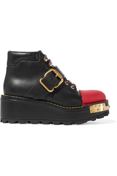 PRADA Buckle Leather 60Mm Hiking Boot, Black/Scarlet (Nero/Scarlatto), Nero+Scarlatto at NET-A-PORTER