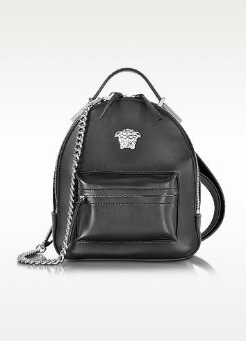 VERSACE Palazzo Black Leather Medusa Backpack at FORZIERI