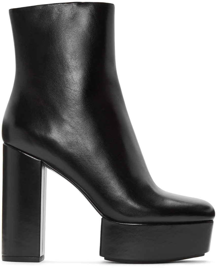 ALEXANDER WANG Cora Leather Platform Ankle Boots at SSENSE