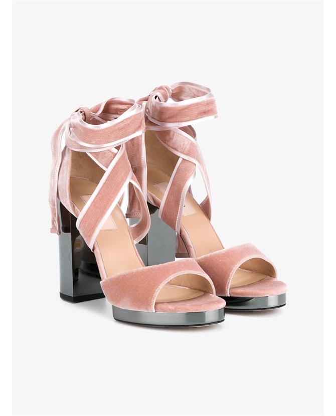 VALENTINO Ballet Fever Velvet Ankle-Wrap Sandal, Poudre/Ruthenio