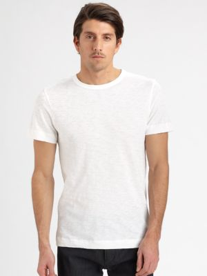 THEORY Gaskell N. Air Pique Crewneck T-Shirt, White at Saks Fifth Avenue