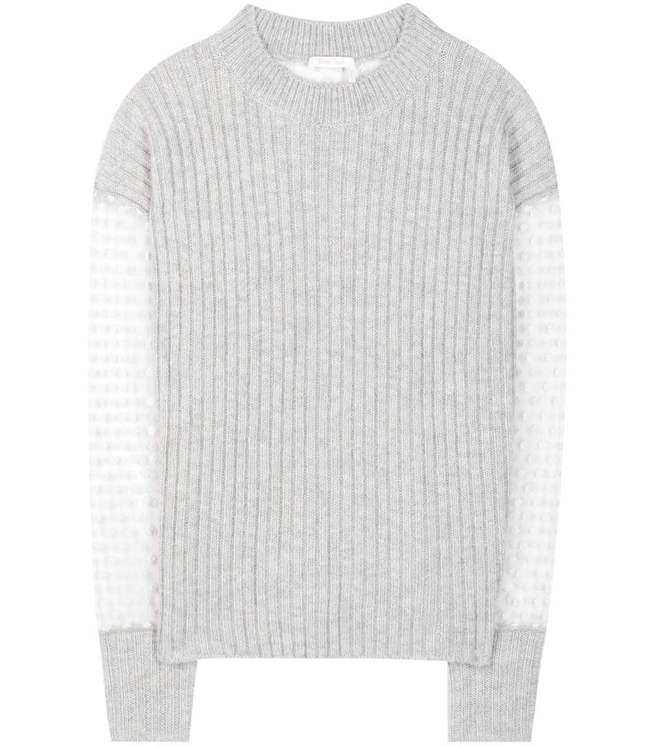 SEE BY CHLOÉ Mohair And Wool-Blend Sweater With Embroidered Tulle