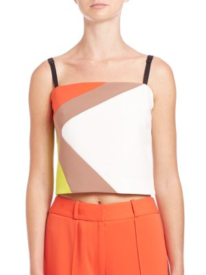 MILLY Cropped Cady Colorblock Tank, Multi Colors at Saks Off 5TH