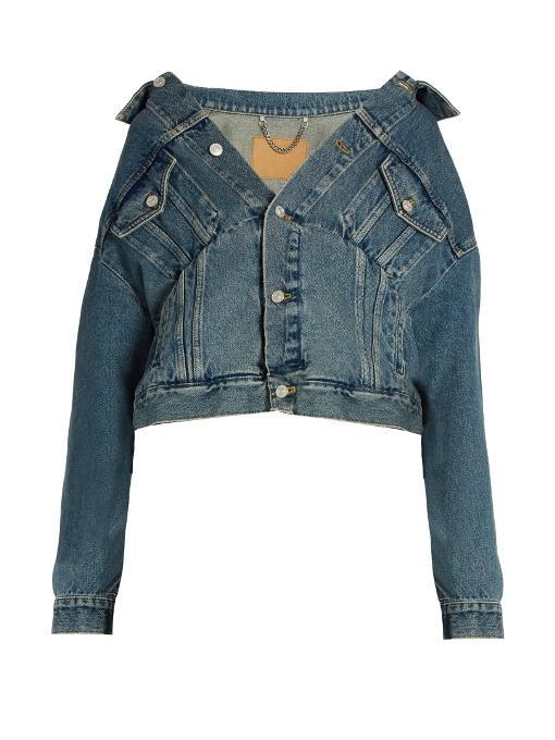 BALENCIAGA Off-The-Shoulder Denim Jacket