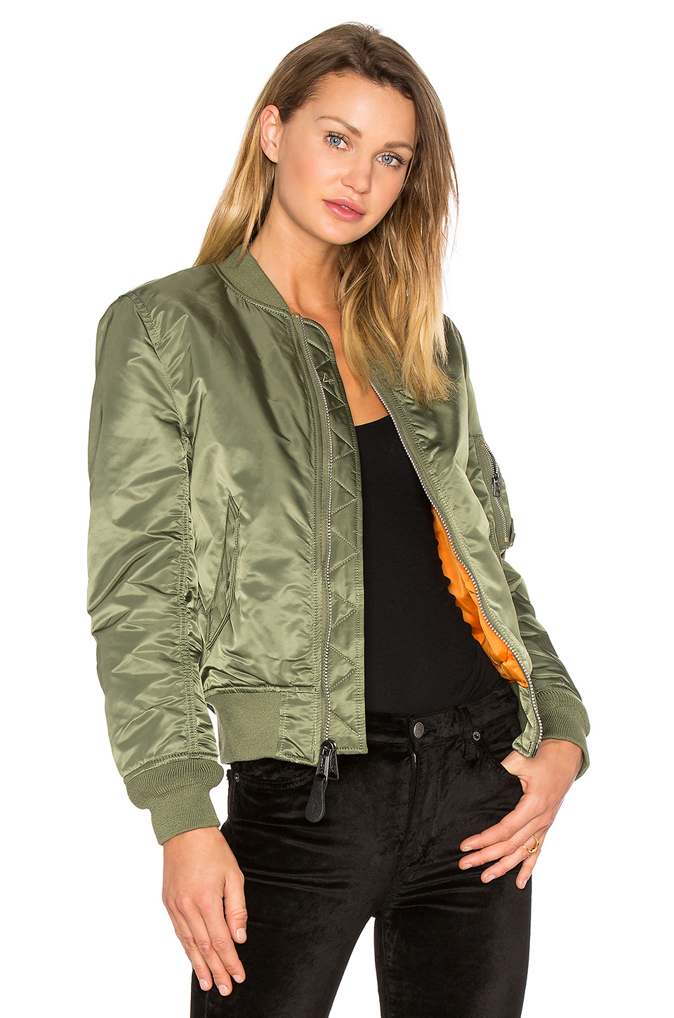 ALPHA INDUSTRIES Ma-1 Vf Reversible Nylon Bomber Jacket, Sage Green at REVOLVE