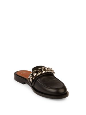 GIVENCHY Chain Croc-Embossed Leather Loafer Slides at Saks Fifth Avenue