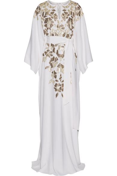 OSCAR DE LA RENTA Metallic Appliquéd Silk Crepe De Chine Gown in Colour: White