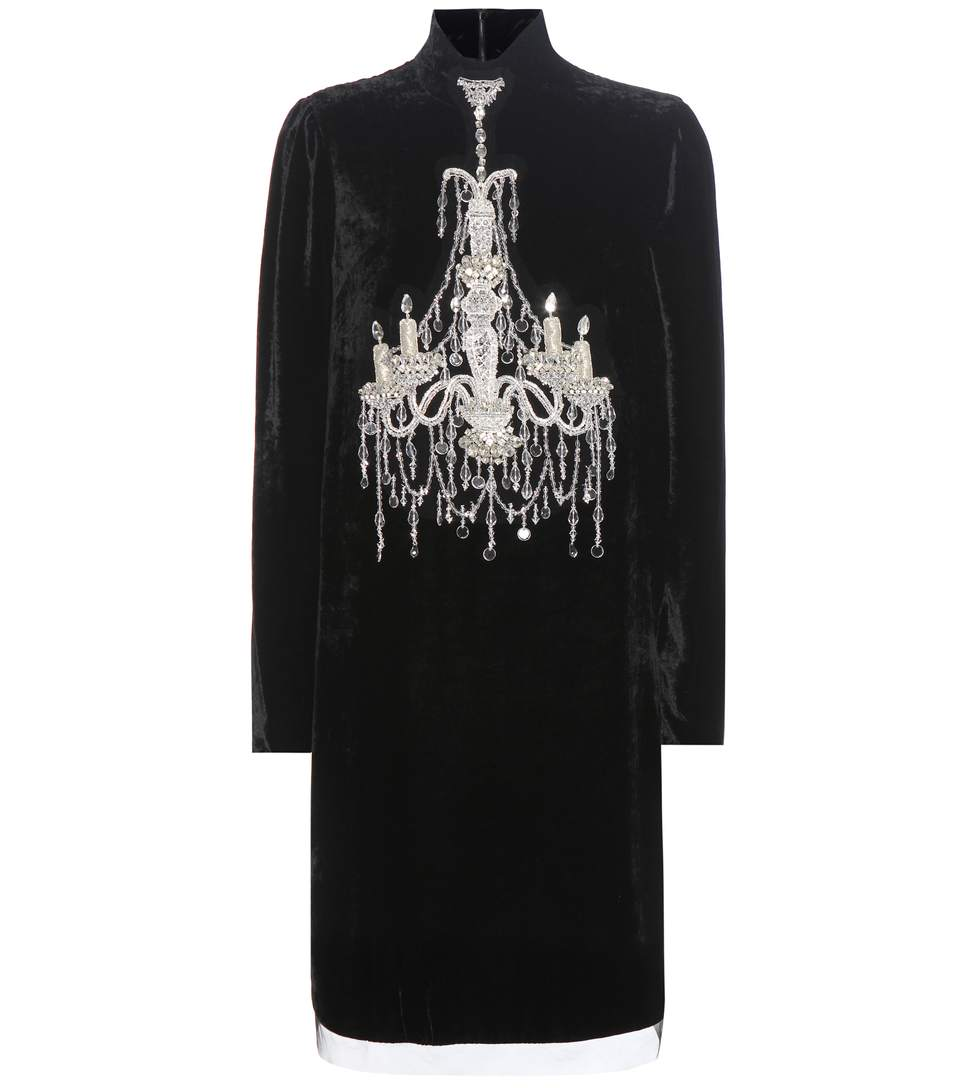 DOLCE & GABBANA Mock-Neck Embellished-Chandelier Dress, Black at mytheresa.com
