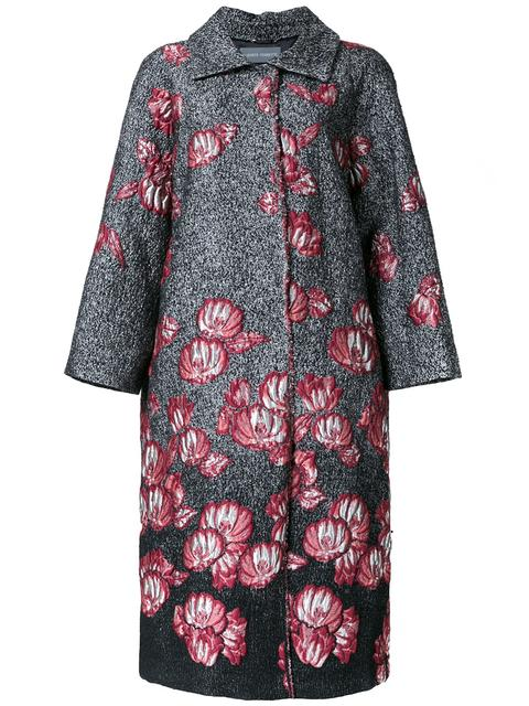 ALBERTA FERRETTI Floral Jacquard Coat