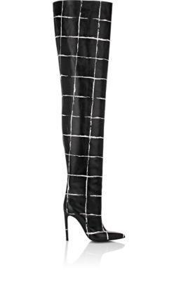 BALENCIAGA Windowpane-Checked Leather Cuissard Boots