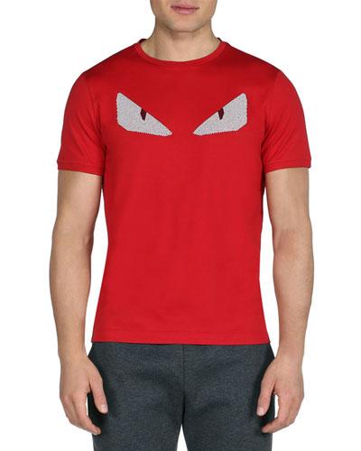 FENDI Monster Eyes Cotton Jersey T-Shirt, Red/White at BERGDORF GOODMAN