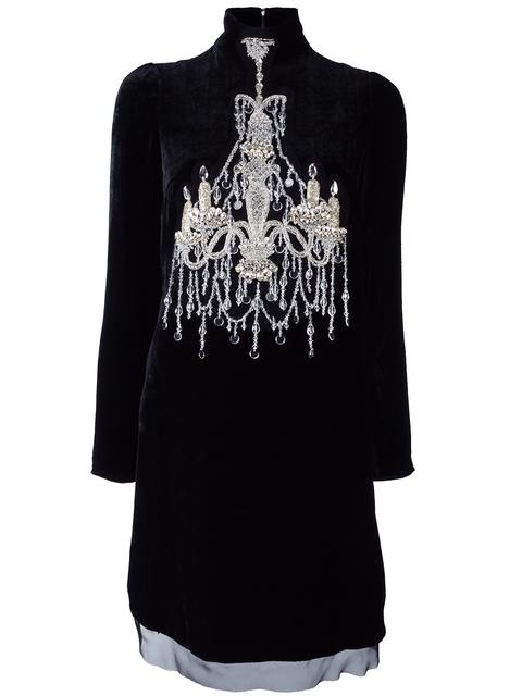 DOLCE & GABBANA Mock-Neck Embellished-Chandelier Dress, Black at Farfetch