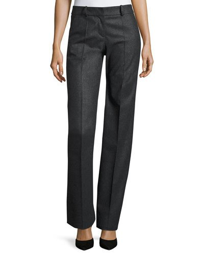 GIORGIO ARMANI Straight-Leg Wool/Cashmere Pants, Gray at BERGDORF GOODMAN