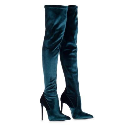 LE SILLA Stretch Over The Knee Boot In Velvet, Green Velvet H.120 Mm