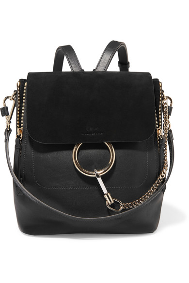 CHLOÉ Faye Medium Textured-Leather And Suede Backpack in Black