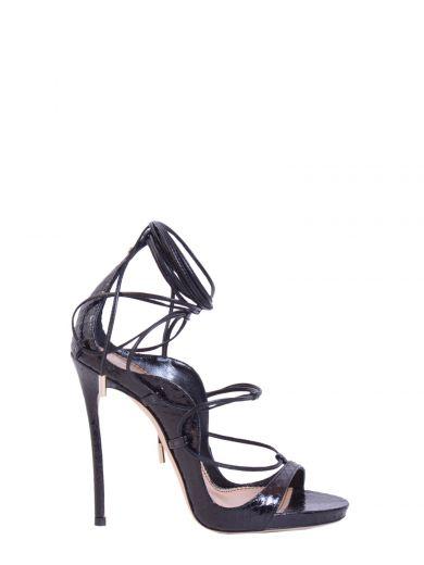 DSQUARED2 120Mm Elaphe Snakeskin Lace-Up Sandals, Black at Italist.com