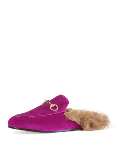 GUCCI Horsebit-Detailed Shearling-Lined Velvet Slippers at BERGDORF GOODMAN