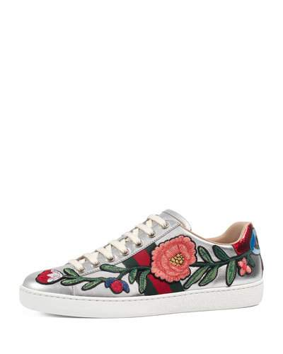 GUCCI New Ace Floral-Embroidered Low-Top Sneaker, White/Multi, Multi Colors at BERGDORF GOODMAN