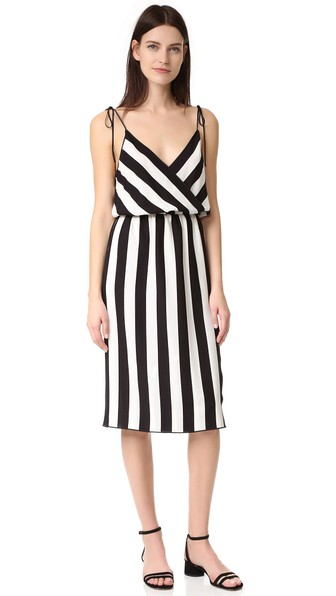 MARC JACOBS Striped Crepe Slip Dress, Black/White at Shopbop