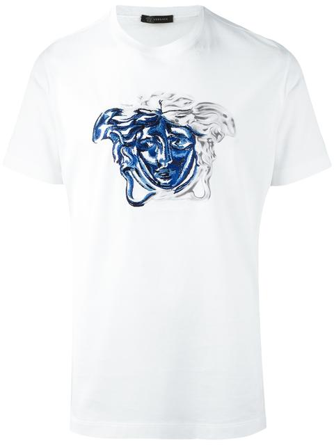 versace medusa contrast embroidery t shirt in white modesens. Black Bedroom Furniture Sets. Home Design Ideas
