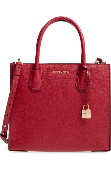 MICHAEL MICHAEL KORS 'Medium Mercer' Leather Tote in Cherry/ Gold