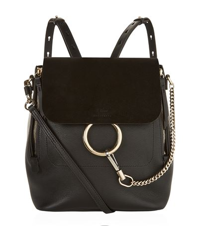 CHLOÉ Faye Medium Textured-Leather And Suede Backpack at Harrods