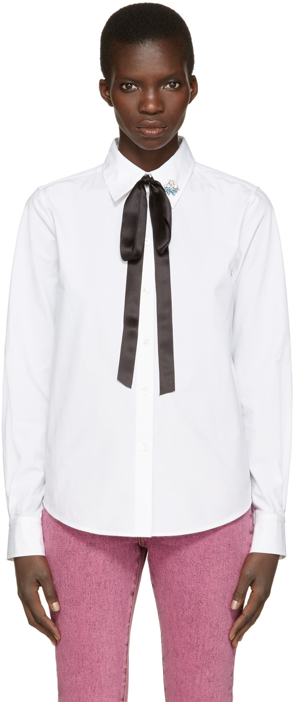 MARC JACOBS Cotton Shirt With Bow And Collar Detail at SSENSE